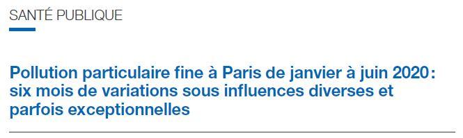 Pollution particulaire fine à Paris de janvier à juin 2020